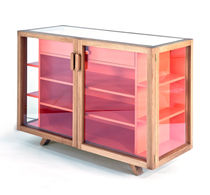 Contemporary display case / floor-standing / oak / glass