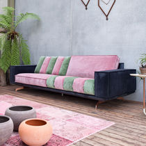 Contemporary sofa / fabric / leather / with washable removable cover