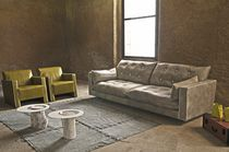 Contemporary sofa / leather / 2-seater / brown