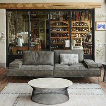 Contemporary sofa / canvas / 2-seater / gray