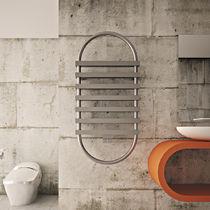 Hot water towel radiator / vertical / steel / stainless steel