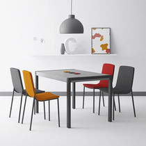 Contemporary table / tempered glass / rectangular / extending