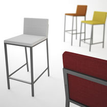 Contemporary bar chair / fabric / chrome