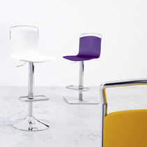Contemporary bar chair / adjustable / central base / water-resistant fabric