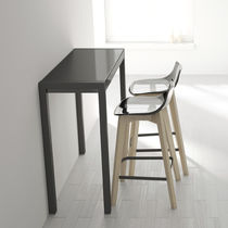 Contemporary high bar table / tempered glass / rectangular / 100% recyclable