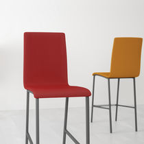 Contemporary bar chair / upholstered / fabric / lacquered steel