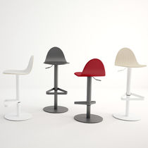Contemporary bar stool / beech / lacquered steel / in fire-retardant fabric