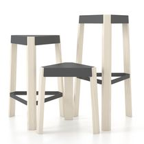 Contemporary stool / wooden / white