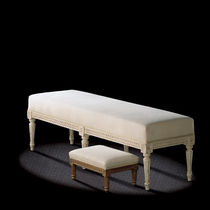 Louis XVI style upholstered bench / fabric / white