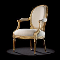 Medallion armchair / Louis XVI style / in textile