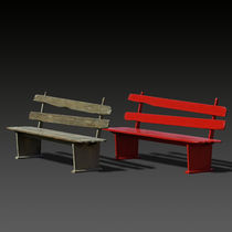 Public bench / traditional / wooden / with backrest
