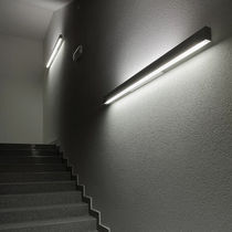 Contemporary wall light / extruded aluminum / opalescent glass / LED