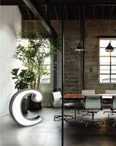 Floor-standing lamp / original design / brass / white