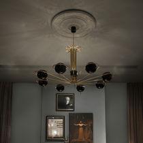 Contemporary chandelier / brass / steel / handmade
