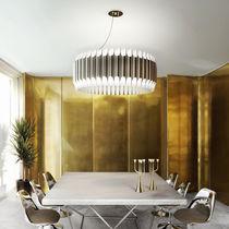Contemporary chandelier / nickel / steel / handmade