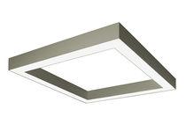 Hanging light fixture / fluorescent / square / aluminum
