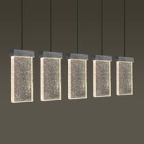 Hanging light fixture / LED / rectangular / glass