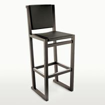 Contemporary bar chair / oak / leather / by Antonio Citterio