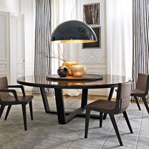 Contemporary table / marble / oak / round