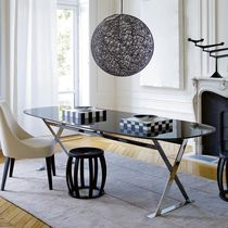 Contemporary table / marble / in wood fiber / oval