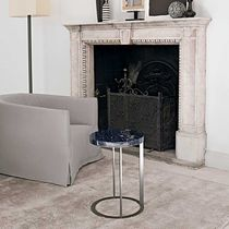 Contemporary side table / wooden / marble / rectangular