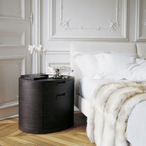 Contemporary bedside table / wooden / oval / with drawer