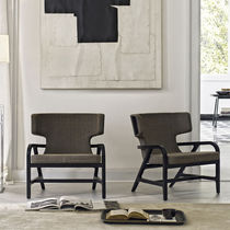 Contemporary fireside chair / leather / wing / by Antonio Citterio