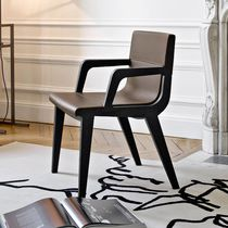 Contemporary chair / with armrests / fabric / solid wood
