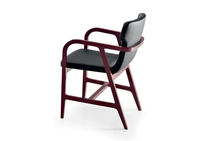 Contemporary chair / with armrests / beech / fabric