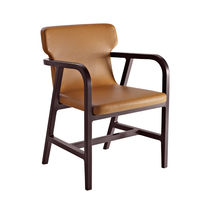 Contemporary chair / beech / fabric / leather