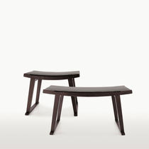 Contemporary bench / solid wood / leather / fabric