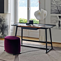 Wooden desk / leather / contemporary / with storage