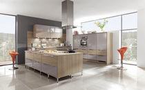 Contemporary kitchen / wood veneer / island