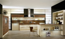 Contemporary kitchen / wood veneer / lacquered