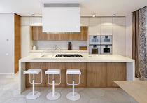 Contemporary kitchen / stone / elm / lacquered wood