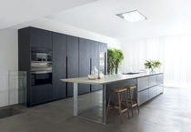 Contemporary kitchen / wooden / natural stone / island