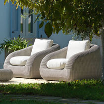 Contemporary armchair / resin wicker / garden