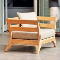 Contemporary armchair / teak / acrylic / garden