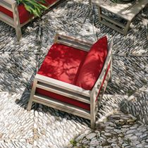 Contemporary armchair / teak / mahogany / garden