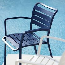 Contemporary garden chair / with armrests / aluminum
