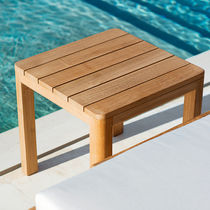 Contemporary coffee table / teak / square / garden