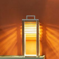 Table lamp / contemporary / aluminum / teak
