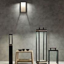 Contemporary wall light / garden / metal / teak