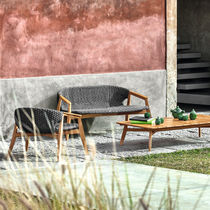 Contemporary sofa / garden / rope / teak