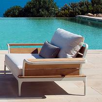 Contemporary armchair / teak / aluminium / garden