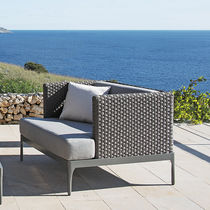 Contemporary armchair / aluminium / resin wicker / garden