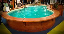 Wooden swimming pool coping