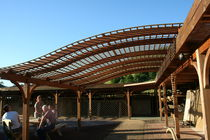 Wall-mounted pergola / wooden / for parking lots