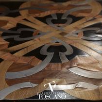 Solid wood flooring / glued / oak / teak