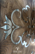 Oak decorative panel / steel / for interior fittings / inlaid